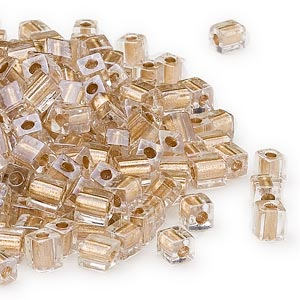 seed bead, miyuki, glass, clear color-lined gold, (sb234), 3.5-3.7mm square. sold per 250-gram pkg.