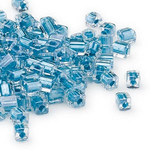 seed bead, miyuki, glass, clear color-lined metallic light blue, (sb2606), 3.5-3.7mm square. sold per 25-gram pkg.