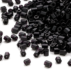 seed bead, miyuki, glass, opaque black, (hex-652), #11 hex 2-cut. sold per 7.5-gram pkg.