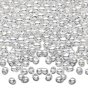 seed bead, miyuki, glass, opaque fine silver-finished, (dp961), 4x3.4mm fringe. sold per pkg of 10 grams.