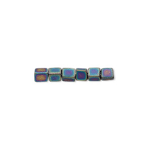 seed bead, miyuki, glass, opaque frosted rainbow black, (sb401fr), 3.5-3.7mm square. sold per 250-gram pkg.