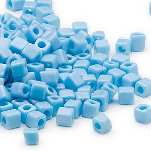 seed bead, miyuki, glass, opaque frosted rainbow light blue, (sb413fr), 3.5-3.7mm square. sold per 25-gram pkg.