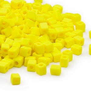 seed bead, miyuki, glass, opaque frosted yellow, (sb404f), 3.5-3.7mm square. sold per 25-gram pkg.