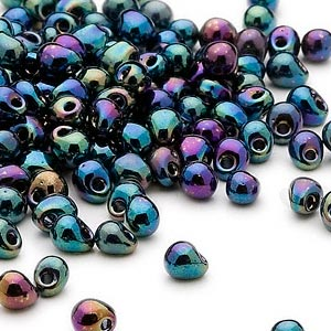 seed bead, miyuki, glass, opaque gunmetal mixed blue, (dp455), 4x3.4mm fringe. sold per 10-gram pkg.