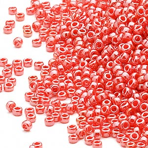 seed bead, miyuki, glass, opaque luster orange, (rr424), #15 rocaille. sold per 35-gram pkg.