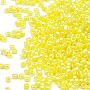 seed bead, miyuki, glass, opaque luster yellow, (rr422), #15 rocaille. sold per 35-gram pkg.