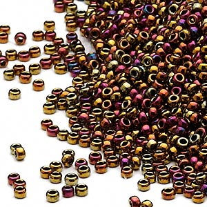 seed bead, miyuki, glass, opaque metallic rainbow bronze, (rr462), #15 rocaille. sold per 35-gram pkg.