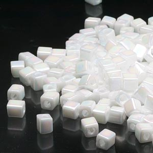 seed bead, miyuki, glass, opaque rainbow chalk white, (sb402r), 3.5-3.7mm square. sold per 25-gram pkg.