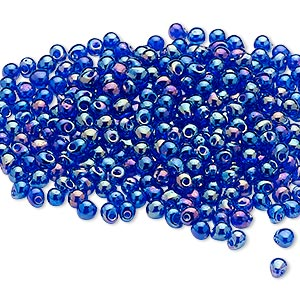 seed bead, miyuki, glass, opaque rainbow cobalt, (dp177), 3.3x2.8mm mini fringe. sold per 10-gram pkg.