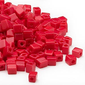 seed bead, miyuki, glass, opaque red, (sb407), 3.5-3.7mm square. sold per 25-gram pkg.