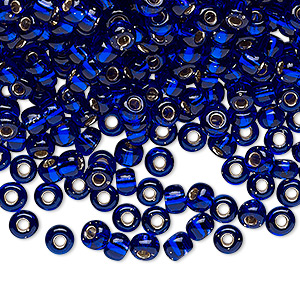 seed bead, miyuki, glass, silver-lined translucent cobalt, (rr151s), #6 rocaille. sold per 25-gram pkg.