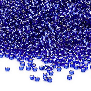 seed bead, miyuki, glass, silver-lined translucent cobalt, (rr20), #15 rocaille. sold per 250-gram pkg.