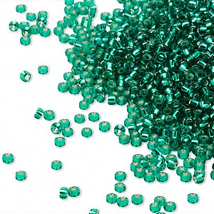 seed bead, miyuki, glass, silver-lined translucent green, (rr17), #15 rocaille. sold per 35-gram pkg.