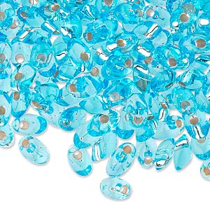seed bead, miyuki, glass, silver-lined translucent light blue, (lma18), 7x4mm long magatama. sold per 50-gram pkg.