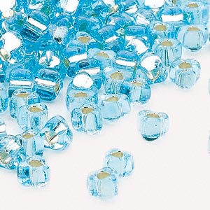 seed bead, miyuki, glass, silver-lined translucent light blue, (tr1803), #5 triangle. sold per 25-gram pkg.