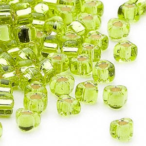 seed bead, miyuki, glass, silver-lined translucent lime, (tr1801), #5 triangle. sold per 250-gram pkg.