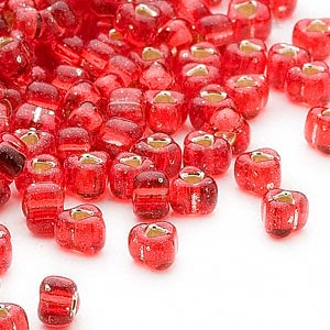 seed bead, miyuki, glass, silver-lined translucent red, (tr1808), #5 triangle. sold per 250-gram pkg.