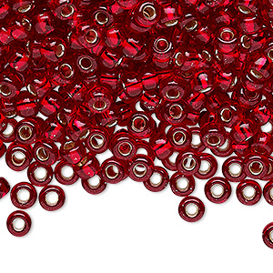 seed bead, miyuki, glass, silver-lined translucent ruby red, (rr141s), #6 rocaille. sold per 25-gram pkg.