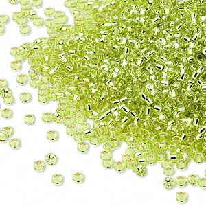 seed bead, miyuki, glass, silver-lined translucent yellow green, (rr14), #15 rocaille. sold per 35-gram pkg.
