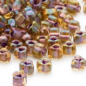 seed bead, miyuki, glass, transparent amber yellow color-lined lilac, (tr1167), #5 triangle. sold per 25-gram pkg.
