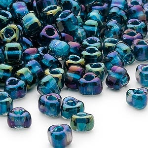 seed bead, miyuki, glass, transparent blue color-lined metallic blue, (tr1831), #5 triangle. sold per 25-gram pkg.