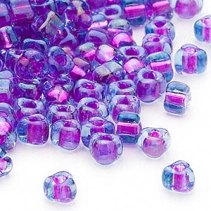 seed bead, miyuki, glass, transparent blue color-lined purple, (tr1141), #5 triangle. sold per 250-gram pkg.