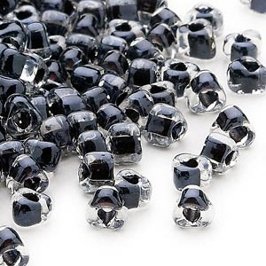 seed bead, miyuki, glass, transparent clear color-lined black, (tr1106), #5 triangle. sold per 25-gram pkg.
