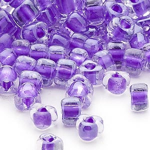 seed bead, miyuki, glass, transparent clear color-lined purple, (tr1123), #5 triangle. sold per 25-gram pkg.