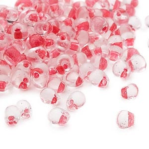 seed bead, miyuki, glass, transparent clear color-lined red, (dpf24), 4x3.4mm fringe. sold per 10-gram pkg.