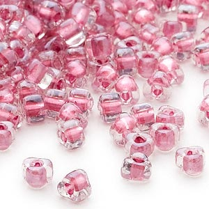 seed bead, miyuki, glass, transparent clear color-lined rose, (tr1132), #5 triangle. sold per 25-gram pkg.