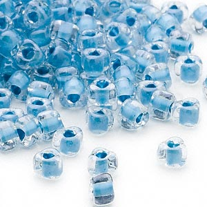 seed bead, miyuki, glass, transparent clear color-lined sky blue, (tr1116), #5 triangle. sold per 250-gram pkg.
