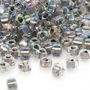 seed bead, miyuki, glass, transparent clear color-lined steel, (tr1139), #5 triangle. sold per 250-gram pkg.