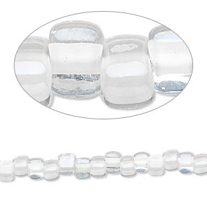seed bead, miyuki, glass, transparent clear color-lined white, (tr1104), #5 triangle. sold per 25-gram pkg.