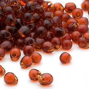 seed bead, miyuki, glass, transparent dark amber yellow, (dp134), 4x3.4mm fringe. sold per 250-gram pkg.
