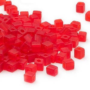 seed bead, miyuki, glass, transparent frosted red, (sb140f), 3.5-3.7mm square. sold per 25-gram pkg.