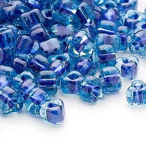 seed bead, miyuki, glass, transparent light blue color-lined dark blue, (tr1828), #5 triangle. sold per 25-gram pkg.