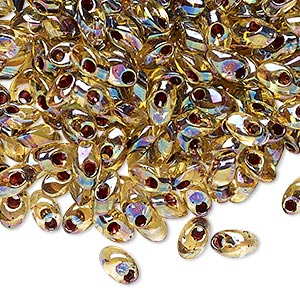 seed bead, miyuki, glass, transparent light topaz color-lined rainbow garnet, (lma2161), 7x4mm long magatama. sold per 50-gram pkg.
