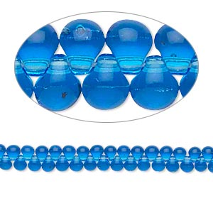 seed bead, miyuki, glass, transparent medium blue, (dp150), 3.3x2.8mm mini fringe. sold per 10-gram pkg.