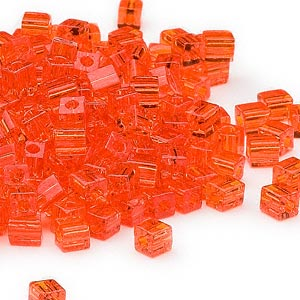 seed bead, miyuki, glass, transparent orange, (sb138), 3.5-3.7mm square. sold per 25-gram pkg.