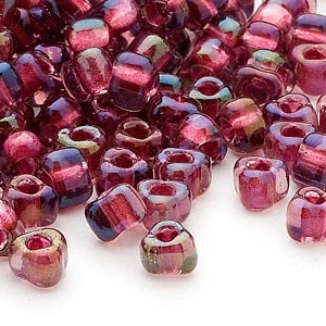 seed bead, miyuki, glass, transparent purple color-lined rose, (tr1833), #5 triangle. sold per 250-gram pkg.