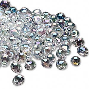 seed bead, miyuki, glass, transparent rainbow clear, (dp250), 4x3.4mm fringe. sold per 10-gram pkg.