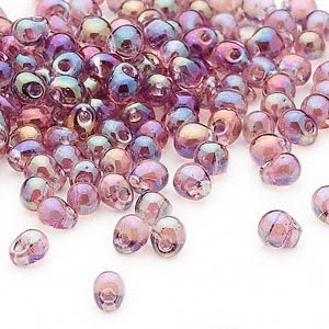 seed bead, miyuki, glass, transparent rainbow lavender, (dp256), 4x3.4mm fringe. sold per 250-gram pkg.