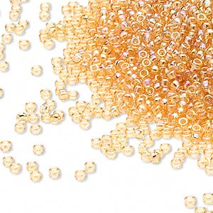 seed bead, miyuki, glass, transparent rainbow light gold, (rr251), #15 rocaille. sold per 35-gram pkg.