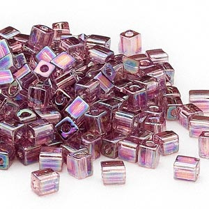seed bead, miyuki, glass, transparent rainbow lilac, (sb256), 3.5-3.7mm square. sold per 250-gram pkg.
