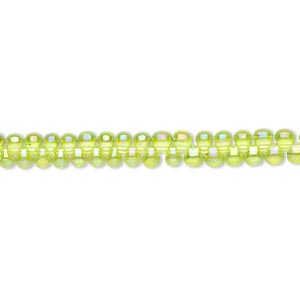 seed bead, miyuki, glass, transparent rainbow lime green, (dp258), 3.3x2.8mm mini fringe. sold per 10-gram pkg.