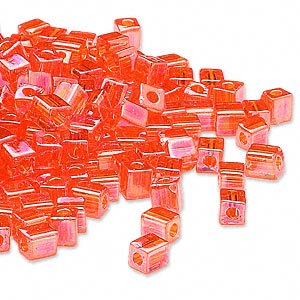 seed bead, miyuki, glass, transparent rainbow orange, (sb253), 3.5-3.7mm square. sold per 25-gram pkg.