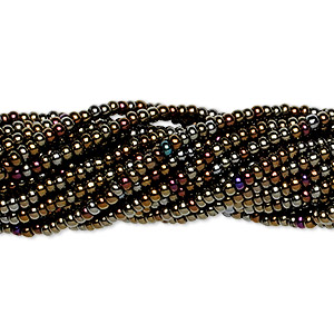 seed bead, preciosa, czech glass, opaque iris gold, #11 round. sold per 1/2 kilogram pkg.