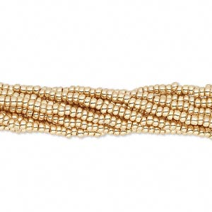 seed bead, preciosa, czech glass, opaque metallic gold, #11 round. sold per 1/2 kilogram pkg.