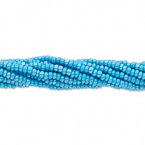 seed bead, preciosa, czech glass, opaque rainbow sea blue, #11 round. sold per hank.