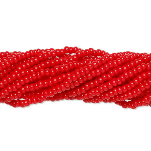 seed bead, preciosa, czech glass, opaque red, #11 round. sold per hank.